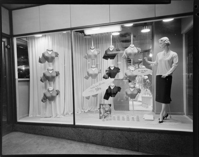 Window display for Rodfield Woollens, James Smith Ltd.. K E Niven and Co :Commercial negatives. Ref: 1/2-211381-F. Alexander Turnbull Library, Wellington, New Zealand. http://natlib.govt.nz/records/23102517