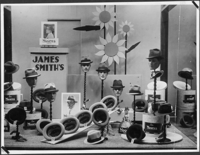 Window display of men's hats, James Smith's department store, Wellington.. James Smith Ltd :Photographs of personnel, activities and shops. Ref: PAColl-3332-03-34. Alexander Turnbull Library, Wellington, New Zealand. http://natlib.govt.nz/records/23072860