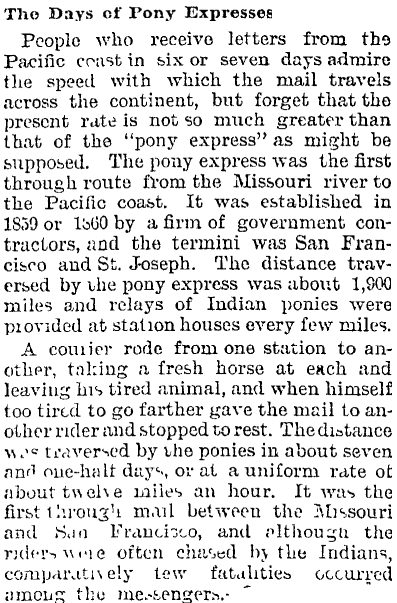 The Days of Pony Expresses. Auckland Star, Volume XXIII, Issue 96, 23 April 1892, Page 3. Source: Papers Past.