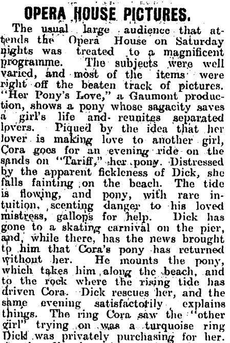 OPERA HOUSE PICTURES, Poverty Bay Herald, Volume XL, Issue 13244, 1 December 1913, Page 4. Source: Papers Past